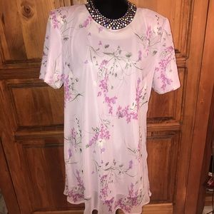 Lavender/purple fully lined floral tunic Size 20W